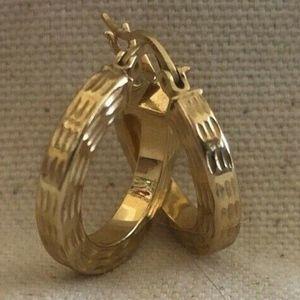 14k Yellow Gold Textured Hoop Earrings